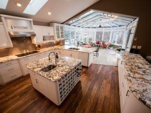 Kitchen island wine storage